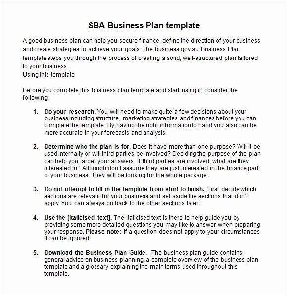 9 Sample Sba Business Plan Templates