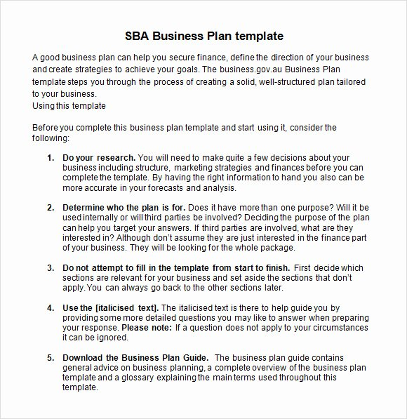 9 Sample Sba Business Plan Templates
