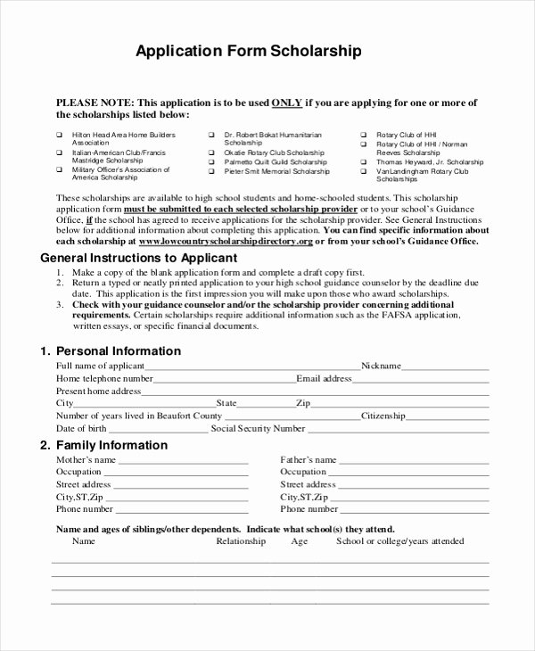 9 Sample Scholarship Application forms Free Sample