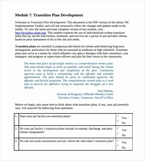 9 Sample Transition Plans – Pdf Word Pages