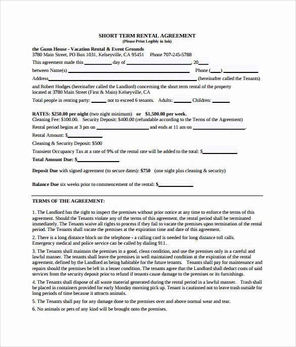 9 Sample Vacation Rental Agreements