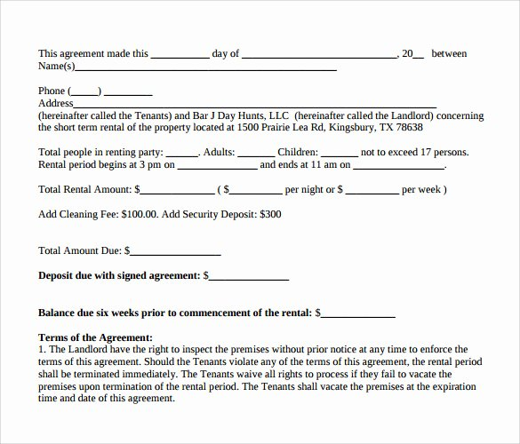 9 Short Term Rental Agreement