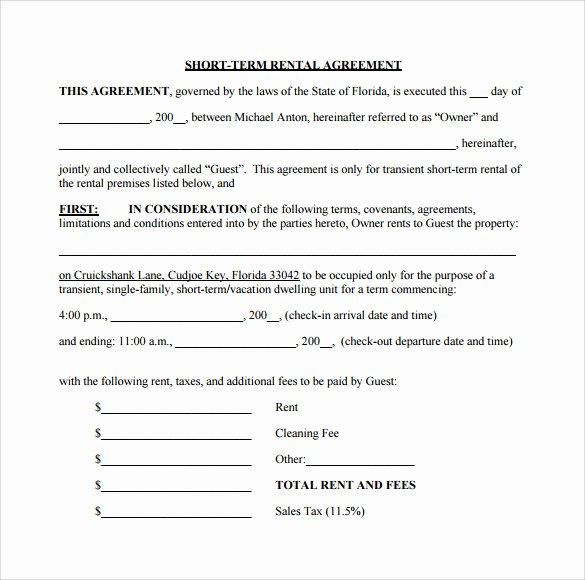 9 Short Term Rental Agreement