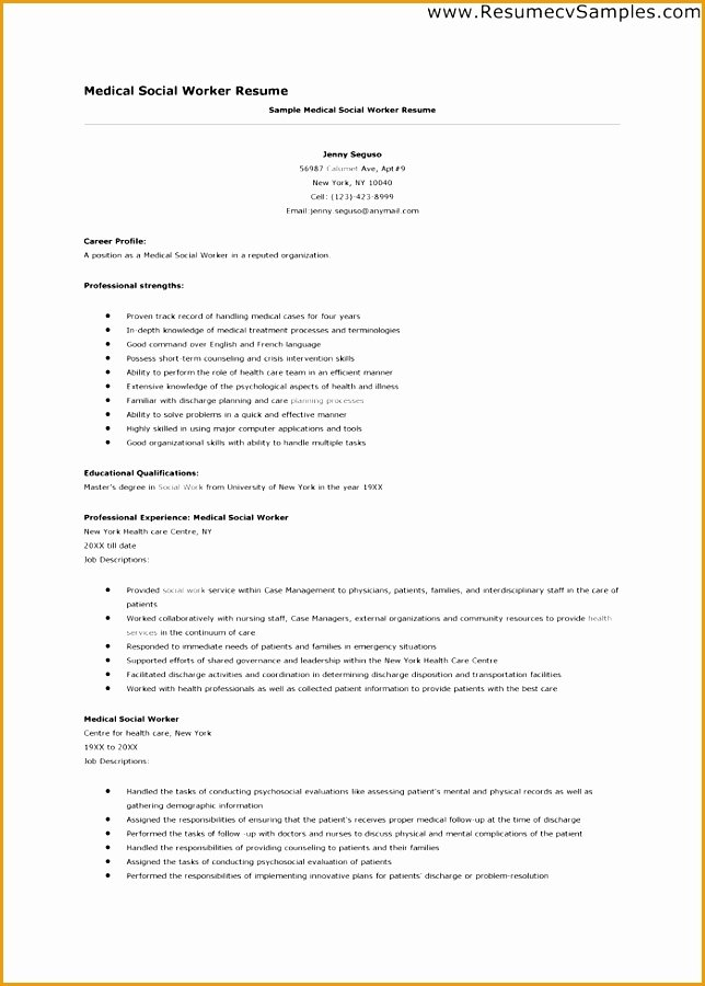 9 social Worker Resume Template Free Samples Examples