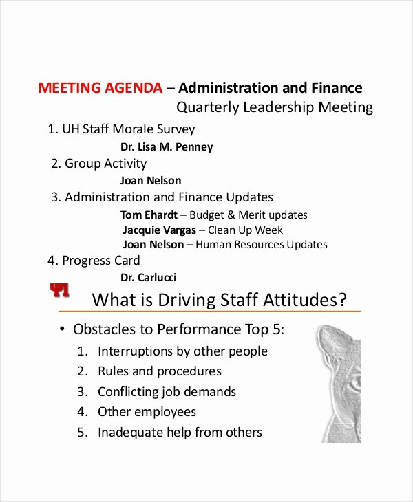 9 Staff Meeting Agenda Templates – Free Sample Example