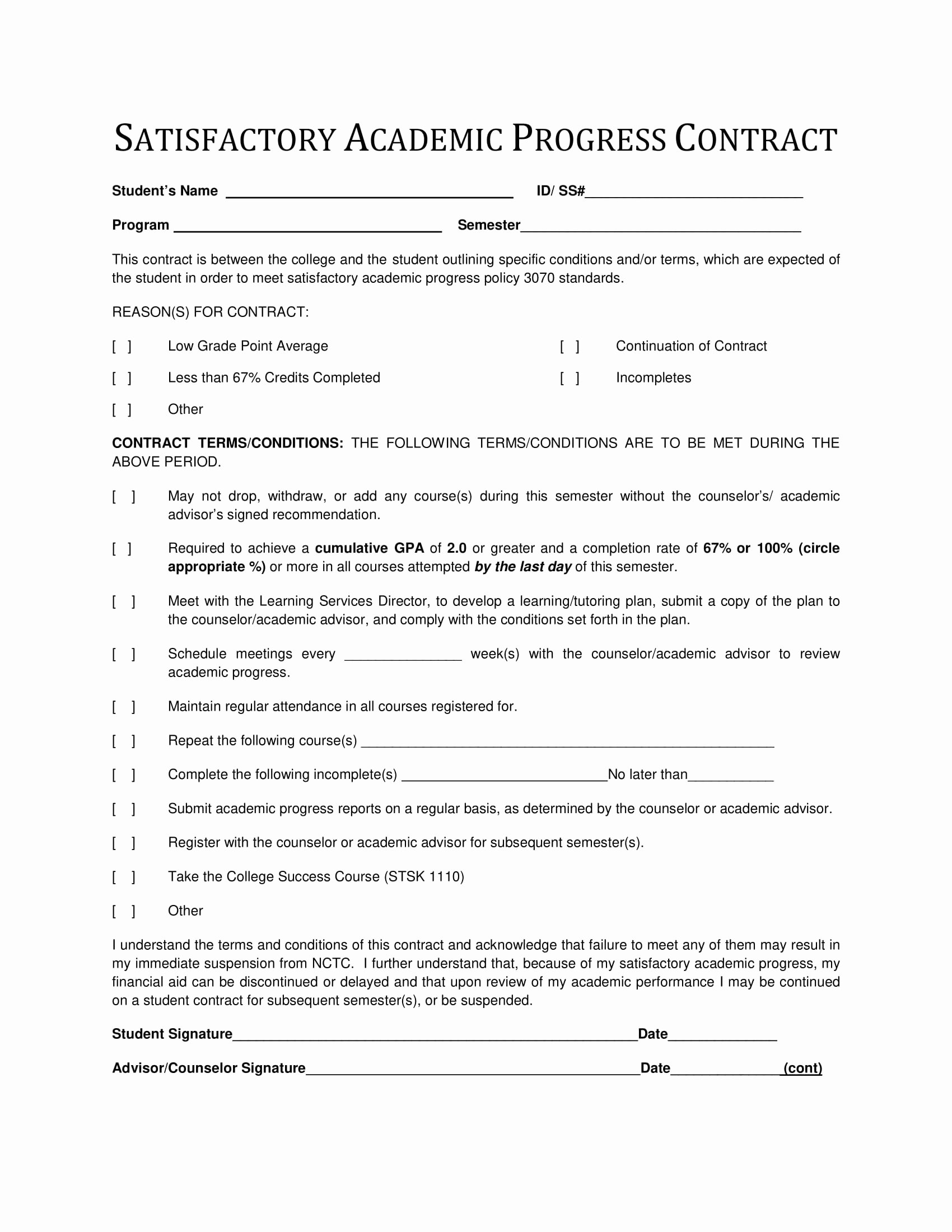 9 Student Academic Contract Template Examples Pdf
