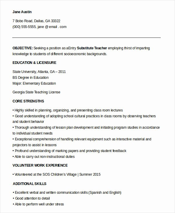 9 Substitute Teacher Resume Templates Pdf Doc