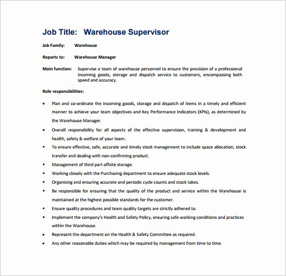 9 Supervisor Job Description Templates