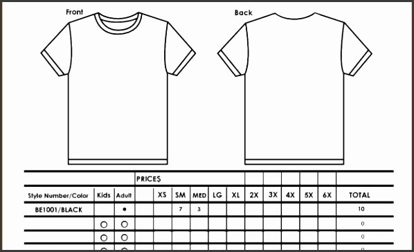 9 T Shirt order form Template Excel Sampletemplatess