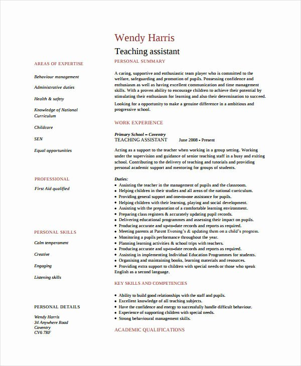 9 Teacher assistant Resume Templates Pdf Doc