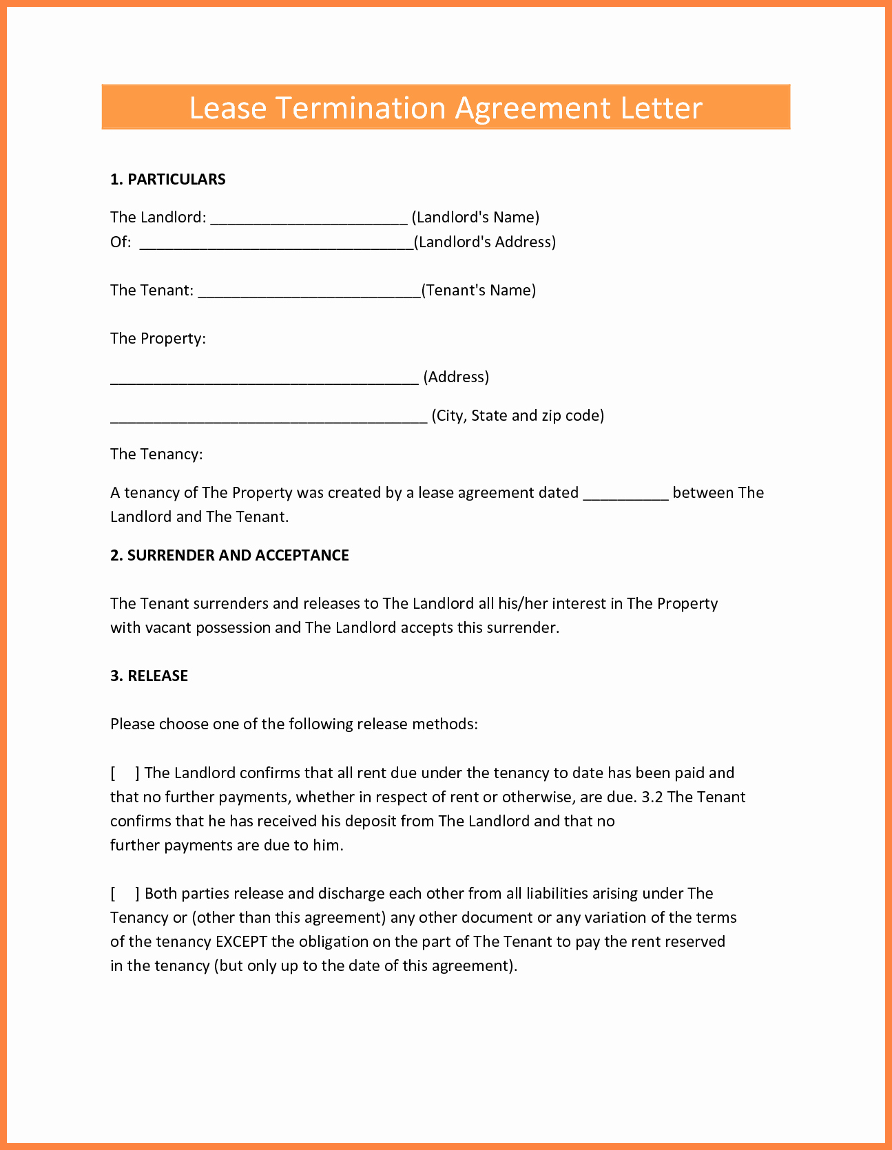 9 Termination Of Lease Agreement