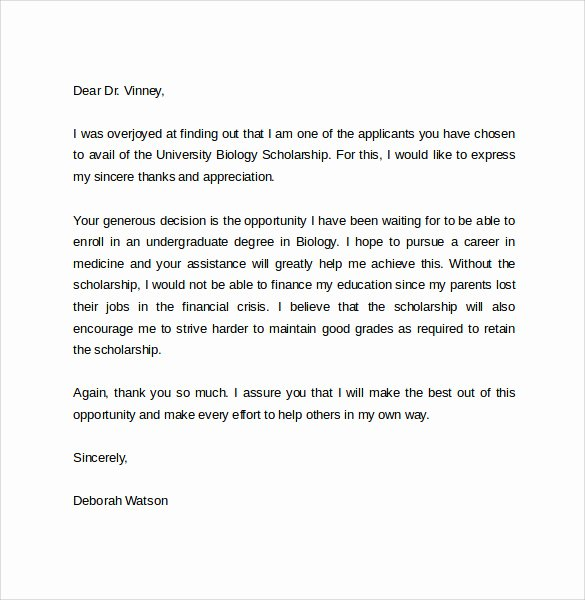 9 Thank You Letter for Scholarship to Download