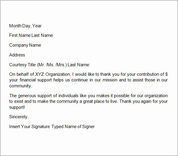 9 Thank You Letters for Donation Samples – Pdf Doc