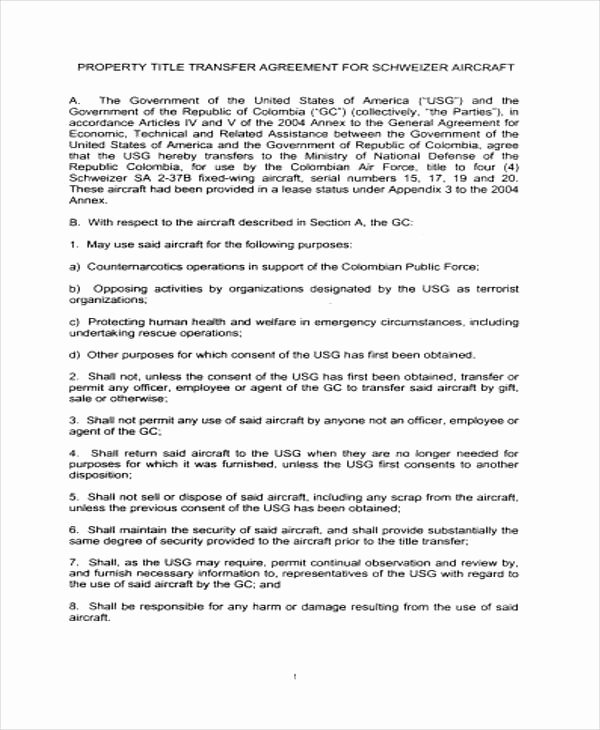 9 Transfer Agreement Templates Free Word Pdf format
