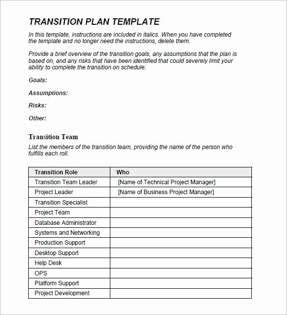 9 Transition Plan Samples