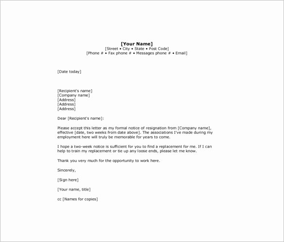 9 Two Week Notice Resignation Letter Templates Free