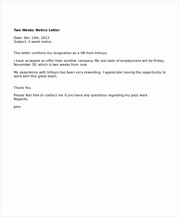 9 Two Weeks Notice Letter Examples Pdf Google Docs Ms