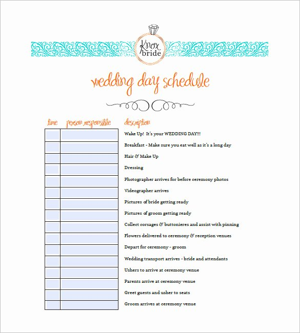 9 Wedding Agenda Templates Free Sample Example format