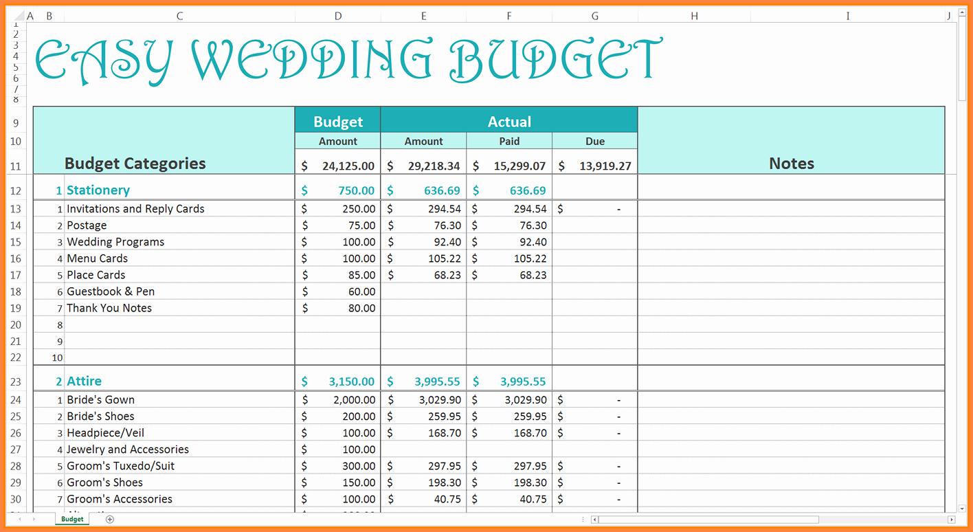 9 Wedding Bud Excel Spreadsheet