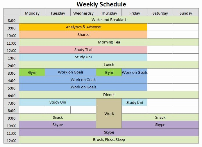 9 Weekly Schedule Templates Excel Templates