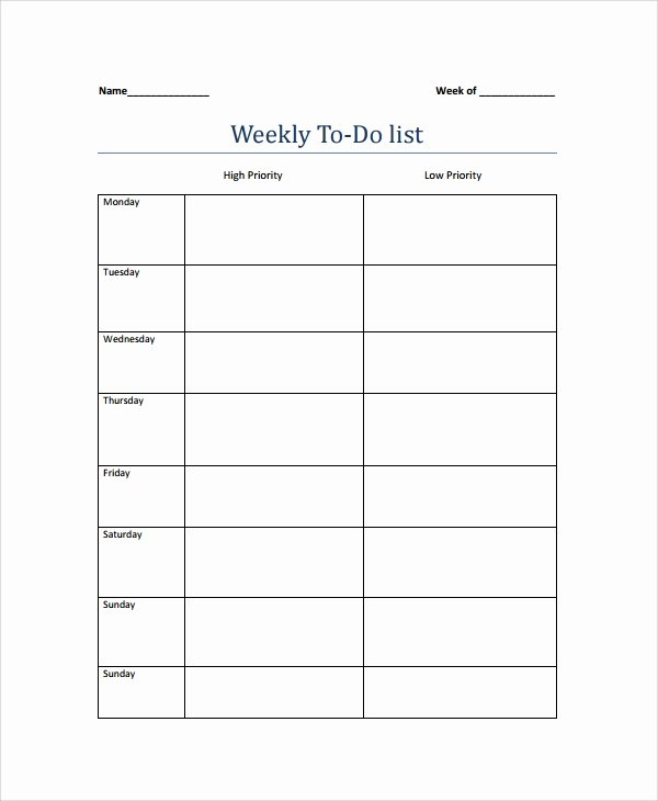9 Weekly to Do List Templates