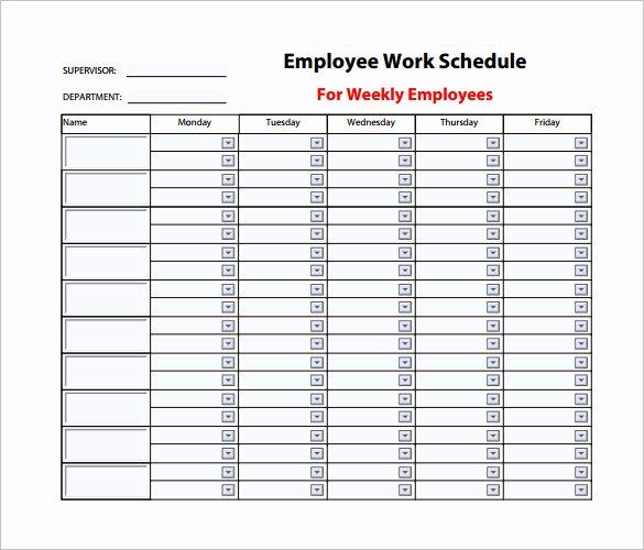 9 Weekly Work Schedule Templates Pdf Doc