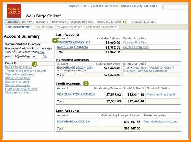 9 Wells Fargo Bank Account Statement