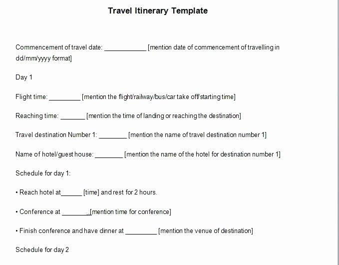 95 Executive assistant Travel Itinerary Template Sample