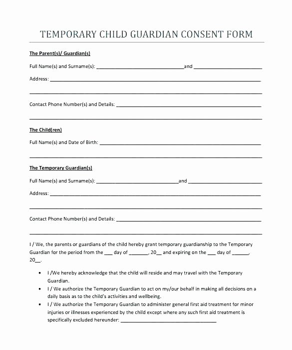 95 Temporary Guardianship Letter Use This Temporary
