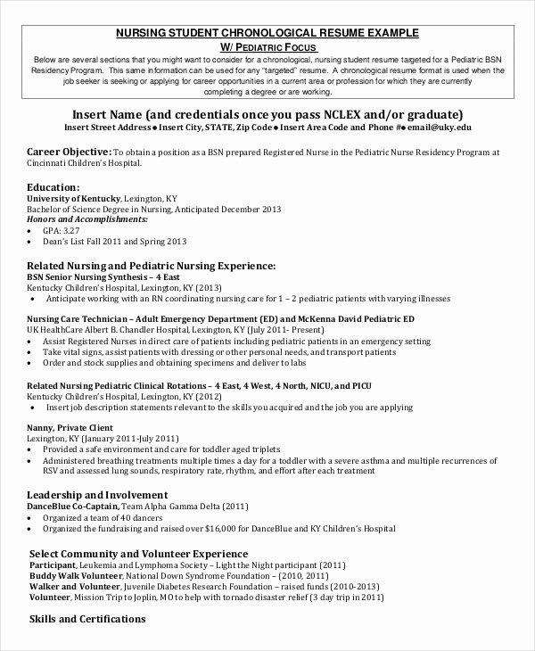 96 Current Nursing Student Resume Resume for Nursing