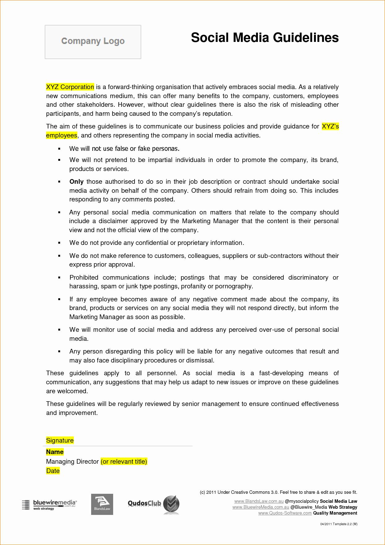 96 social Media Contract Example social Media