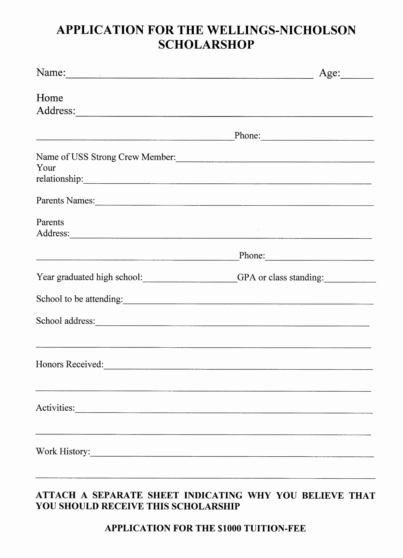 97 Blank Scholarship Application Template Blank