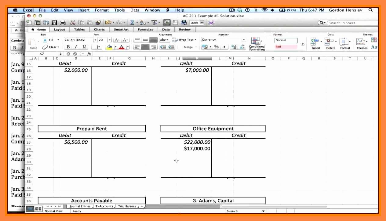 97 Excel T Accounts Template Excel Bookkeeping