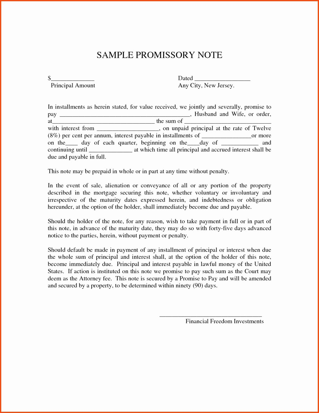 97 Florida Promissory Note Template Free Full Size