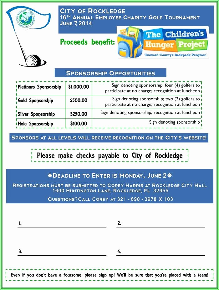 97 Golf tournament Registration form Template Free Golf