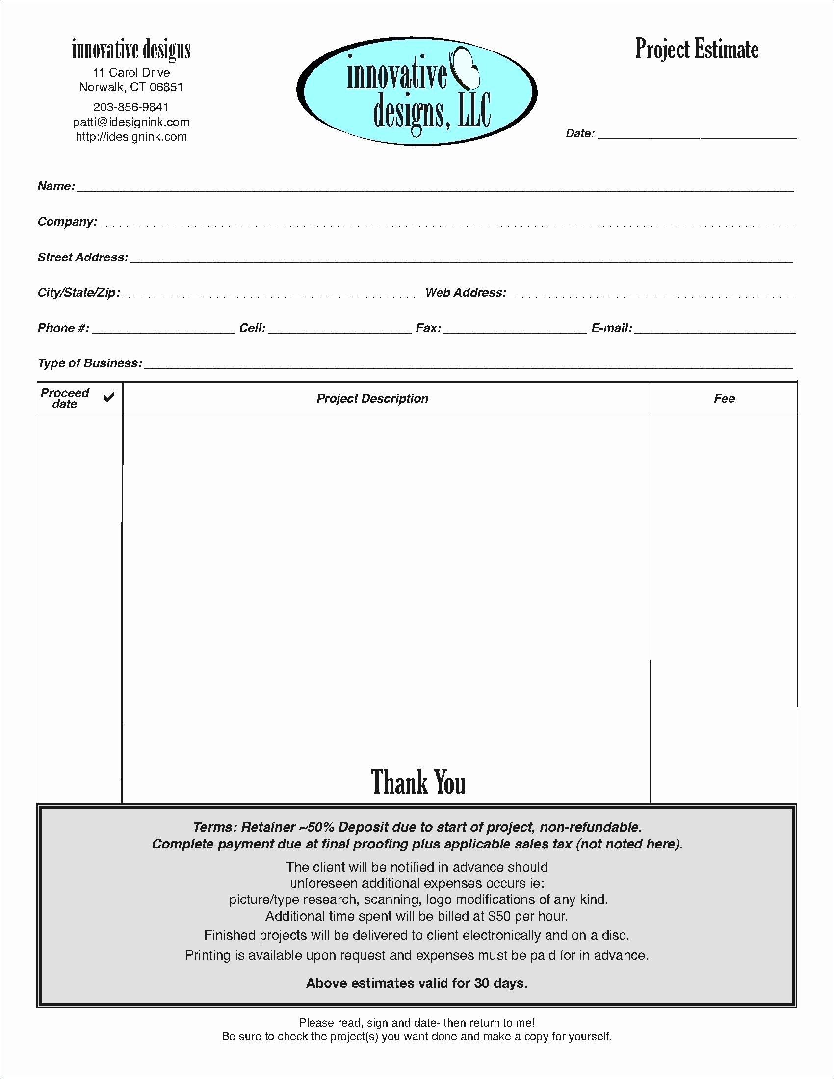 99 Graphic Design Estimate form form Layout Design