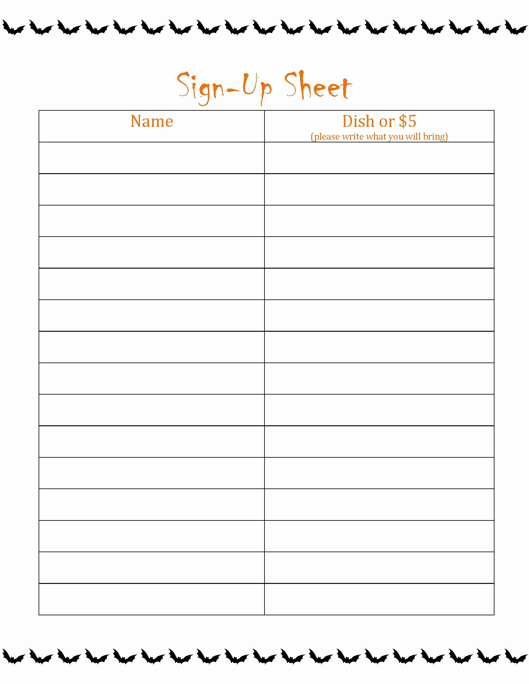 99 Party Sign In Sheet Template Download the Potluck