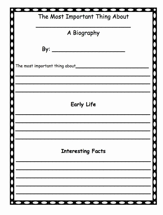 A First Grade Biography Template after Reading the