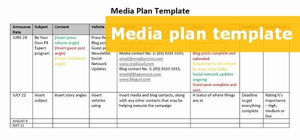 A Free Able Media Plan Template