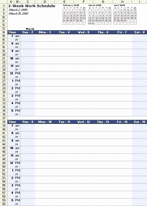 A Free Bi Weekly Work Schedule Template for Excel at