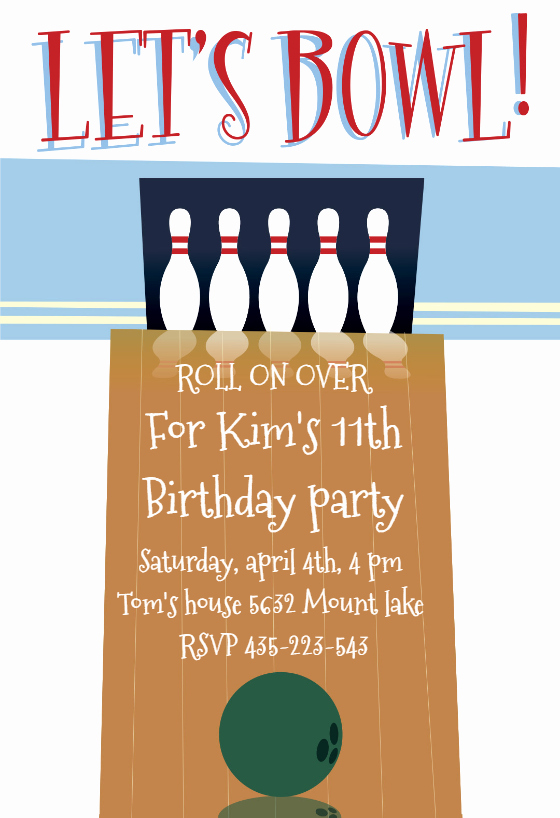A Night Out Bowling Birthday Invitation Template Free