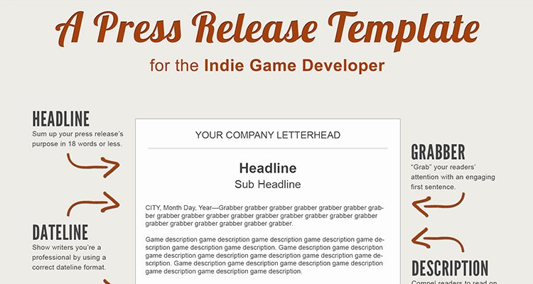 A Press Release Template Perfect for the In Game Developer
