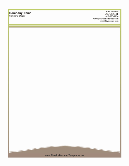A Printable Letterhead Design with A Thin Olive Green
