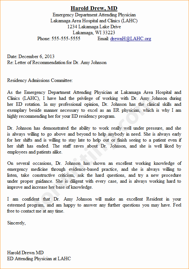 A Professional Letter Of Re Mendation Business