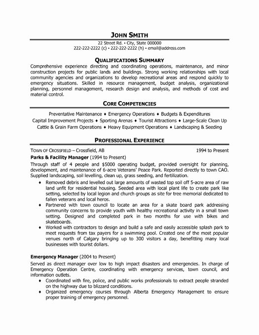 A Professional Resume Template for A Parks and Facility