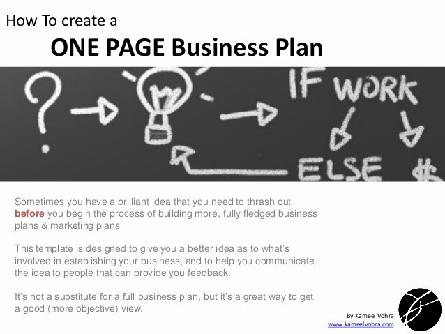 A Quick One Page Business Plan Template