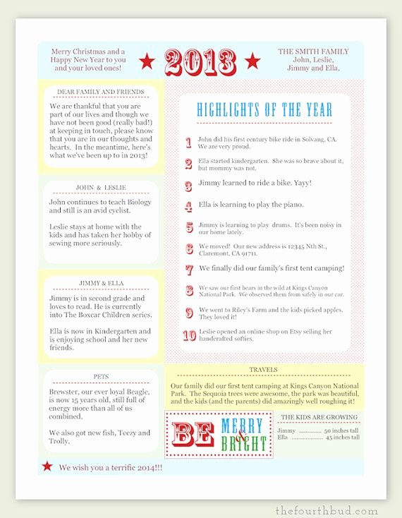 A Year In Review Christmas Letter Pdf Template Be
