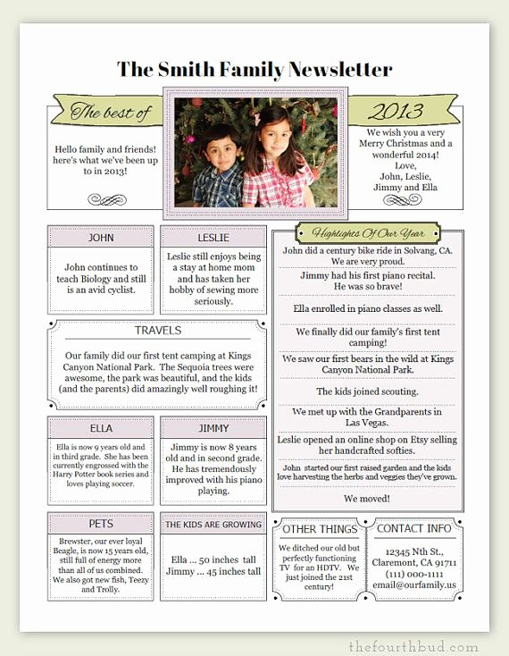 A Year In Review Christmas Letter Pdf Template by