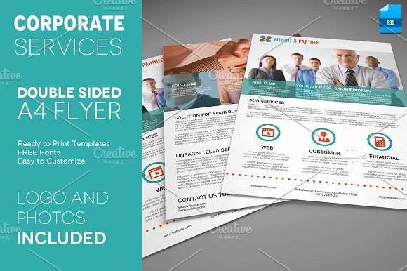 A4 Double Sided Corporate Flyer Flyer Templates
