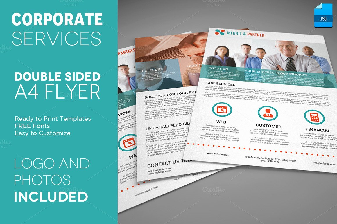 A4 Double Sided Corporate Flyer Flyer Templates On